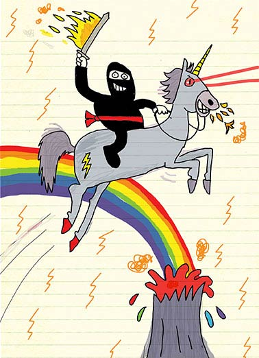 Most Awesome Card Funny Unicorn   This was the most awesome card I could find. | Ninja, unicorn, funny, rainbow, hilarious, volcano, lightning, tattoo, sword, fire, LOL, meme, drawing, cute This was the most Awesome card I could find. Happy Birthday
